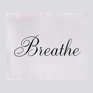 Breathe Black Script Throw Blanket