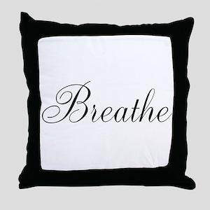 Breathe Black Script Throw Pillow