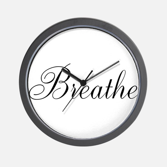 Breathe Black Script Wall Clock