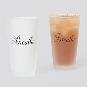 Breathe Black Script Drinking Glass