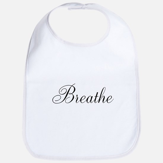Breathe Black Script Bib