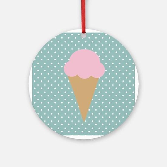 Strawberry Ice Cream on Turquoise Ornament (Round)