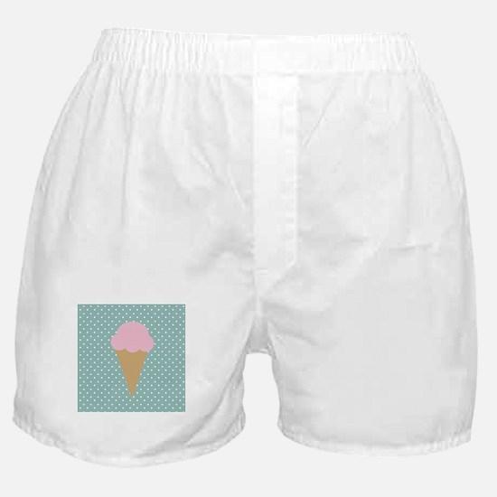 Strawberry Ice Cream on Turquoise Boxer Shorts