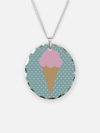 Strawberry Ice Cream On Turquoise Necklace
