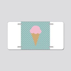 Strawberry Ice Cream on Turquoise Aluminum License