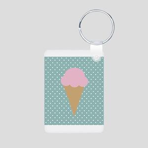 Strawberry Ice Cream on Turquoise Keychains