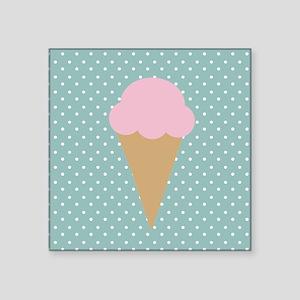 Strawberry Ice Cream on Turquoise Sticker