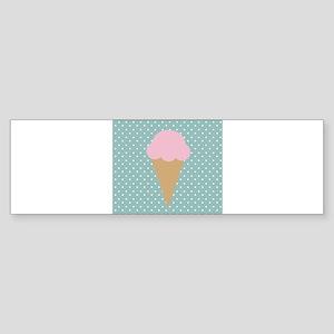Strawberry Ice Cream on Turquoise Bumper Sticker