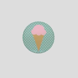 Strawberry Ice Cream on Turquoise Mini Button
