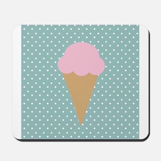 Strawberry Ice Cream on Turquoise Mousepad