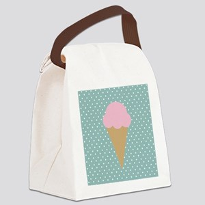 Strawberry Ice Cream on Turquoise Canvas Lunch Bag