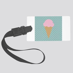 Strawberry Ice Cream on Turquoise Luggage Tag