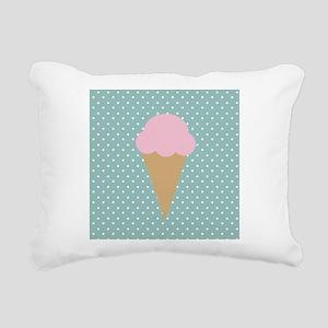 Strawberry Ice Cream on Turquoise Rectangular Canv