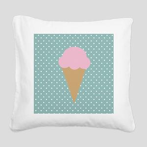Strawberry Ice Cream on Turquoise Square Canvas Pi