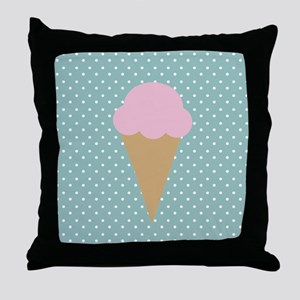 Strawberry Ice Cream on Turquoise Throw Pillow