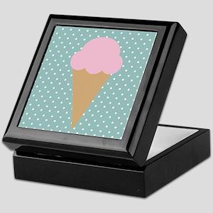 Strawberry Ice Cream on Turquoise Keepsake Box
