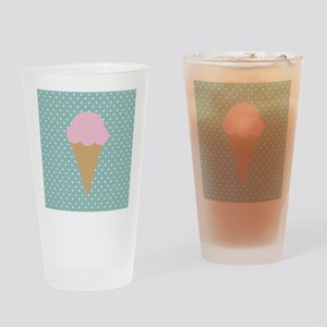 Strawberry Ice Cream on Turquoise Drinking Glass