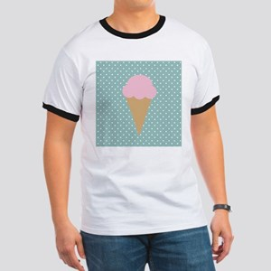 Strawberry Ice Cream on Turquoise T-Shirt