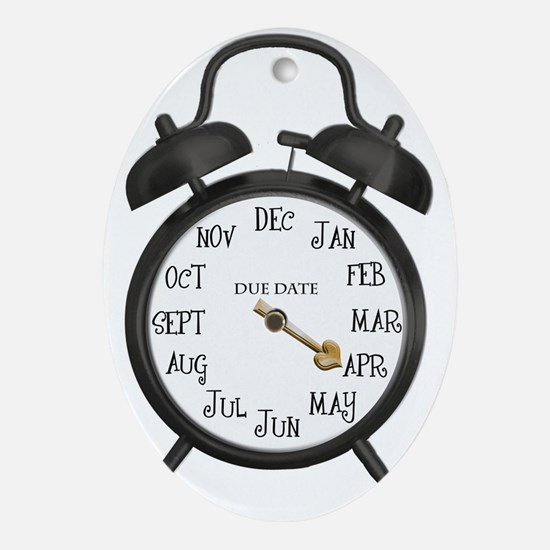 Black Alarm April Due Date Maternity Oval Ornament