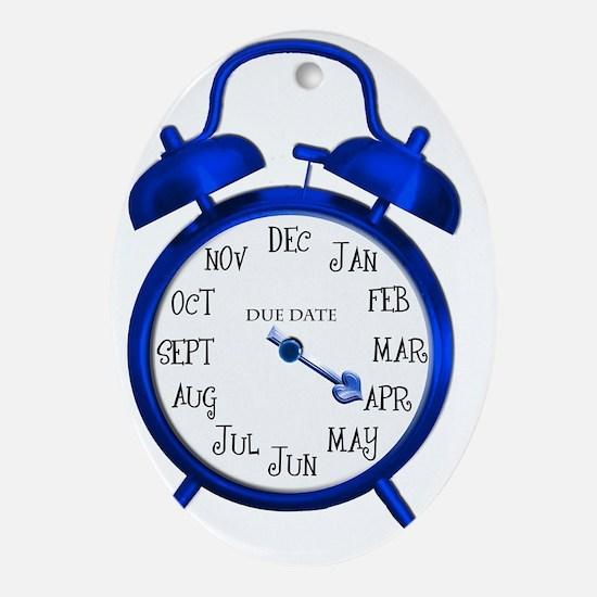 Blue Alarm Due in April Maternity Oval Ornament