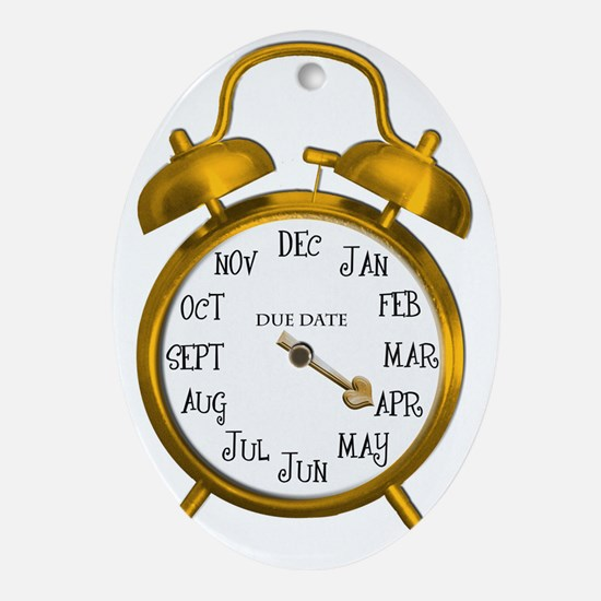 Gold Alarm April Due Date Maternity Oval Ornament