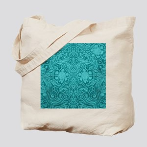 Leather Floral Turquoise Tote Bag