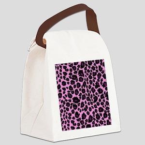 Purple Leopard Print Canvas Lunch Bag