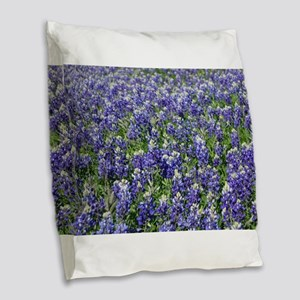 Field Of Texas Bluebonnets Burlap Throw Pillow