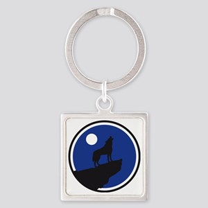 howling wolf at full moon Square Keychain