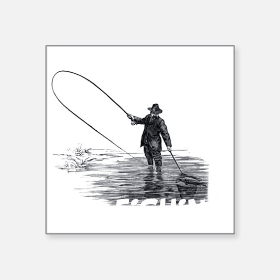"Fly Fishing Square Sticker 3"" x 3"""