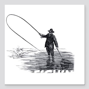 "Fly Fishing Square Car Magnet 3"" x 3"""