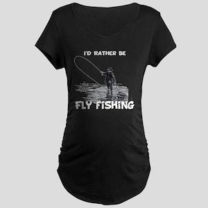 Fly Fishing Maternity Dark T-Shirt