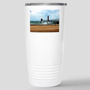Lake Michigan Beach Stainless Steel Travel Mug