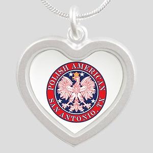 San Antonio Texas Polish Silver Heart Necklace