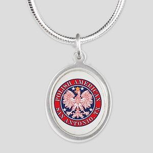 San Antonio Texas Polish Silver Oval Necklace