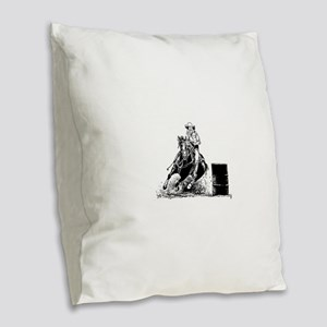 Barrel Racing Burlap Throw Pillow