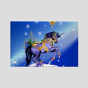 Calender Bright Christmas Unicorn Rectangle Magnet