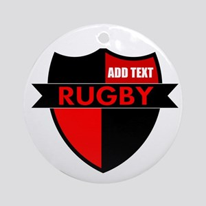 Rugby Shield Black Red Ornament (Round)