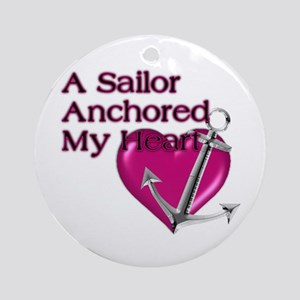 A Sailor Anchored My Heart Ornament (Round)