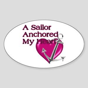 A Sailor Anchored My Heart Oval Sticker