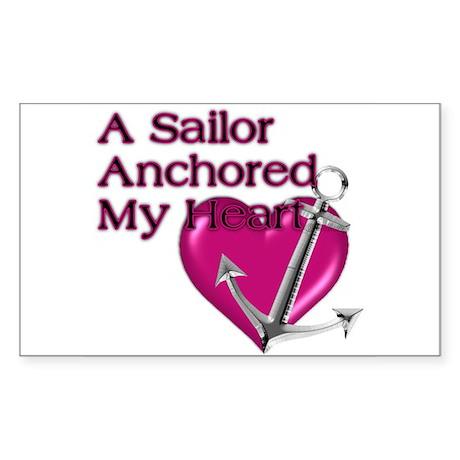 A Sailor Anchored My Heart Rectangle Sticker