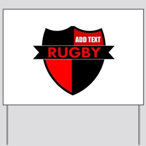 Rugby Shield Black Red Yard Sign