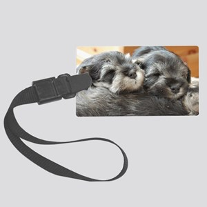 Snoozing Schnauzer Puppies Large Luggage Tag