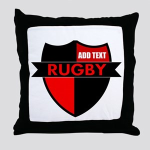 Rugby Shield Black Red Throw Pillow