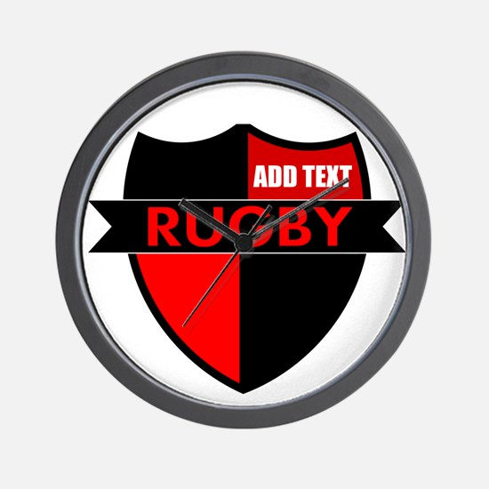 Rugby Shield Black Red Wall Clock