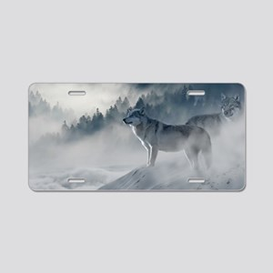 Beautiful Wolves In The Winter Aluminum License Pl