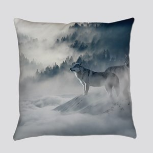 Beautiful Wolves In The Winter Everyday Pillow