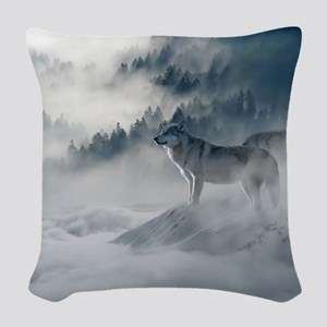 Beautiful Wolves In The Winter Woven Throw Pillow