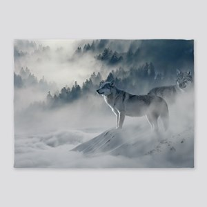 Beautiful Wolves In The Winter 5'x7'Area Rug
