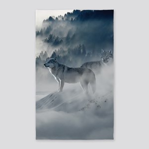 Beautiful Wolves In The Winter Area Rug